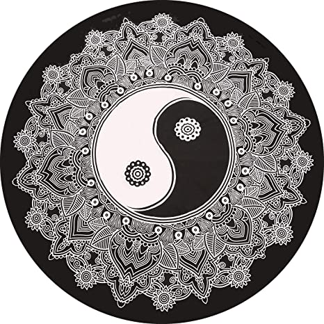 Amazon.com: Mandala india negro y blanco hippie redondo ...