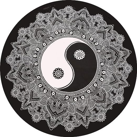 Mandala indio negro y blanco hippie redondo manta de edredón ...
