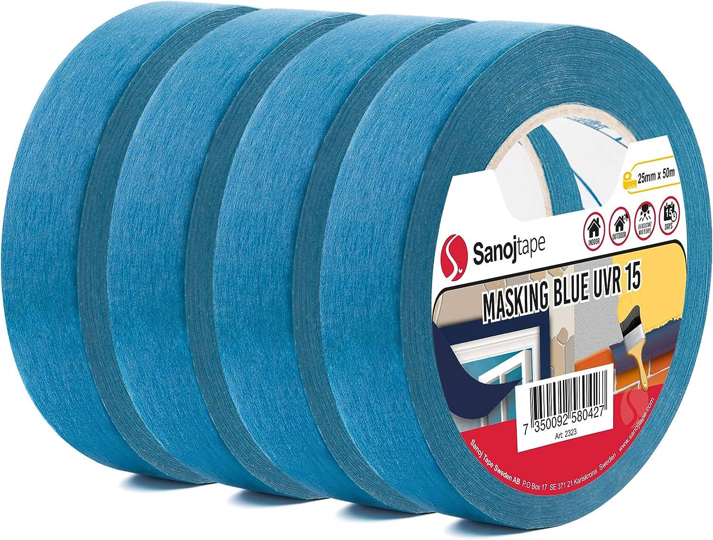 Sanojtape Professionelles Uv Beständiges Abklebeband Viererpack Blau 25mm X 50m Für Innen Und Außen Malerkrepp Malerband Malerabdeckband Abklebeband Für Alle Oberflächen Baumarkt