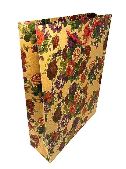 Unidades 12 marrón Natural bolsas de regalo flores diseño de ...