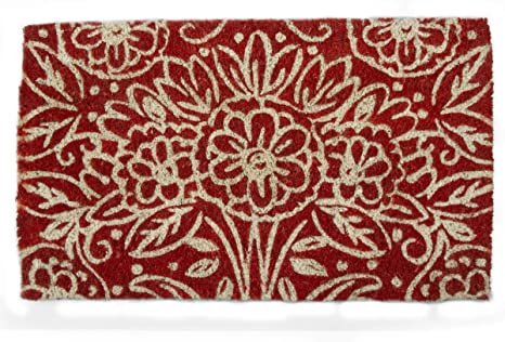 TAG Doormat Welcome Entryway Floral Talavera Estate Coir Large Long 40 by 18