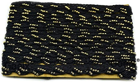 Sarees Bed Covers Art /& Craft in Black Colors Pack of 9 Mtrs// 9.5 Yard Pankh Border Original Handmade Moti Pearl Bead Embellished Lace for Dresses Suits Dupattas Blouses Bags