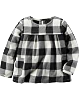 Carter's Girl's Long Sleeve Black & White Gingham Babydoll Top (3T)