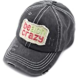 C.C Exclusives Hatsandscarf Washed Distressed Cotton Denim Ponytail Hat Adjustable Baseball Cap (BT-761)