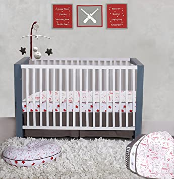 Baseball//Red//Grey Bacati Muslin 2 Piece Crib Sheets