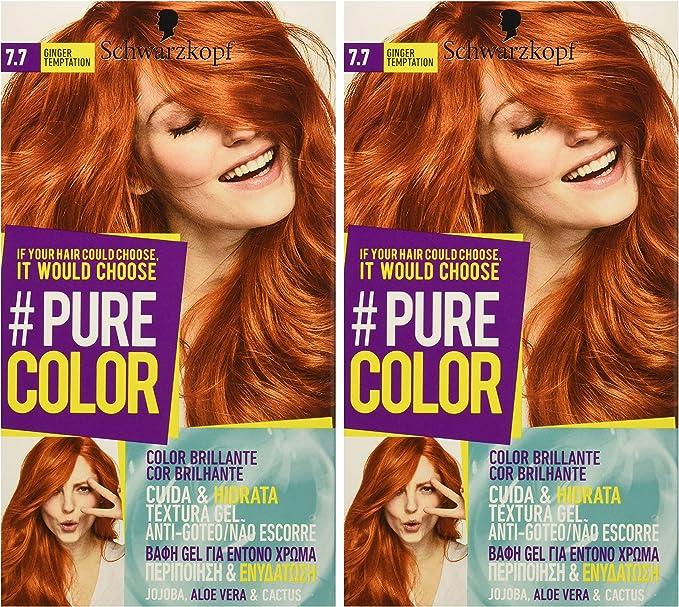 Pure Color de Schwarzkopf Tono 7.7 Ginger Temptation - 2 uds - Coloración Permamente