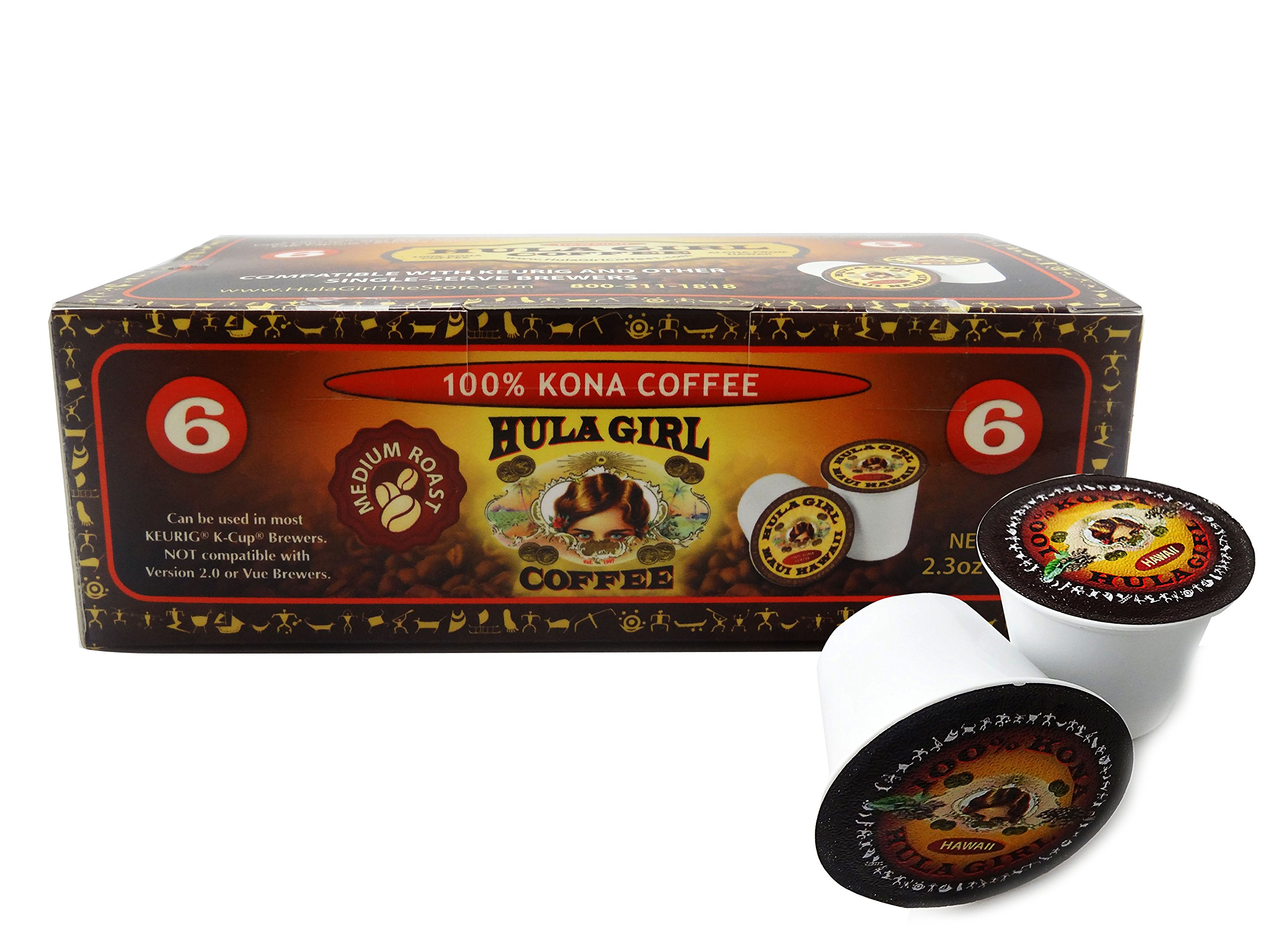 Hula Girl K2 Compatible 100% Kona Coffee Single Servings - K-Cup Box of 100