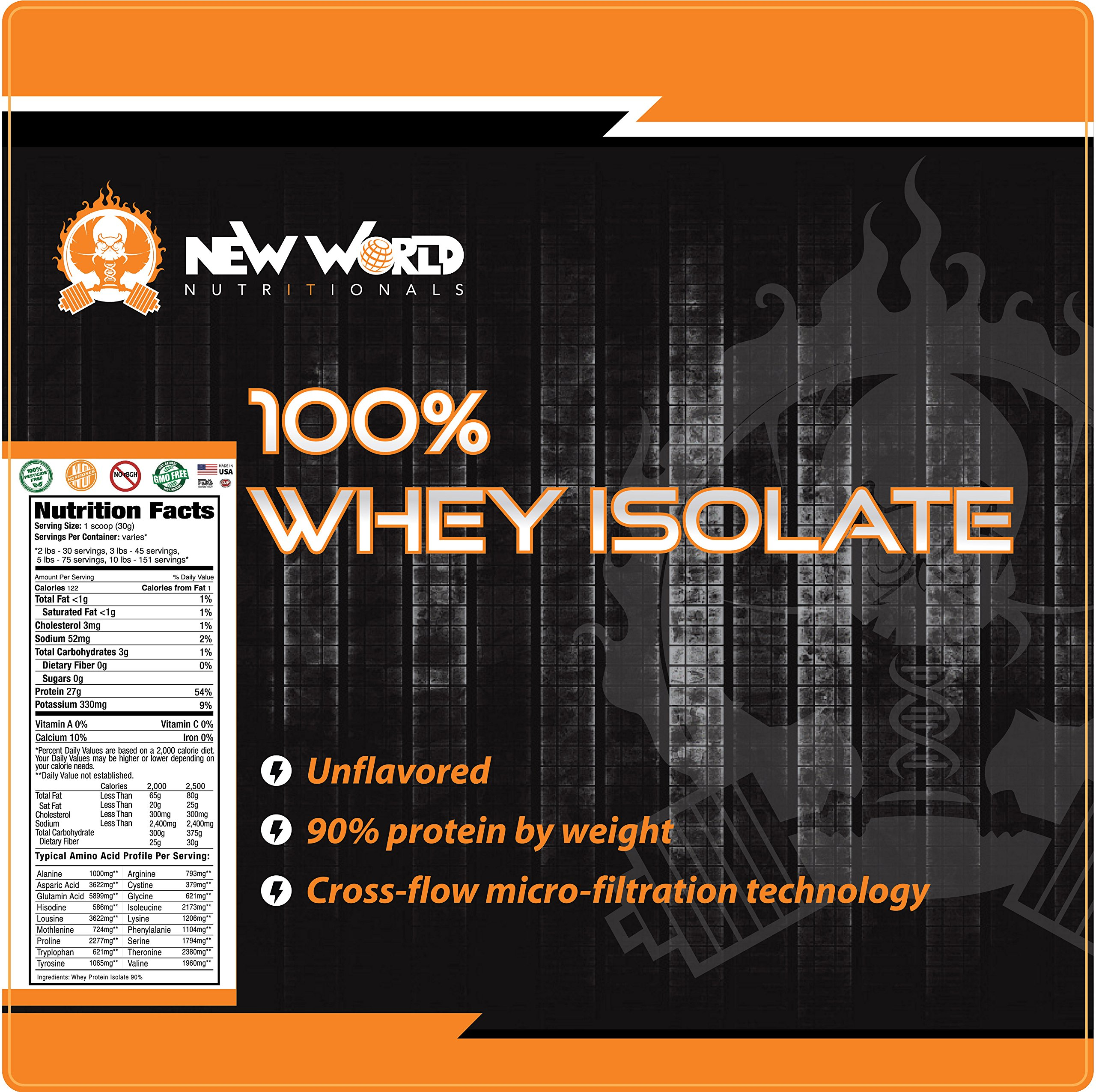 New World Nutritionals Low-Carb 100% Natural Whey Isolate, Supports Lean Muscle Development, Factory Direct,Outrageously Delicious (Unflavored, 10 Pound) by New World Nutritionals (Image #3)