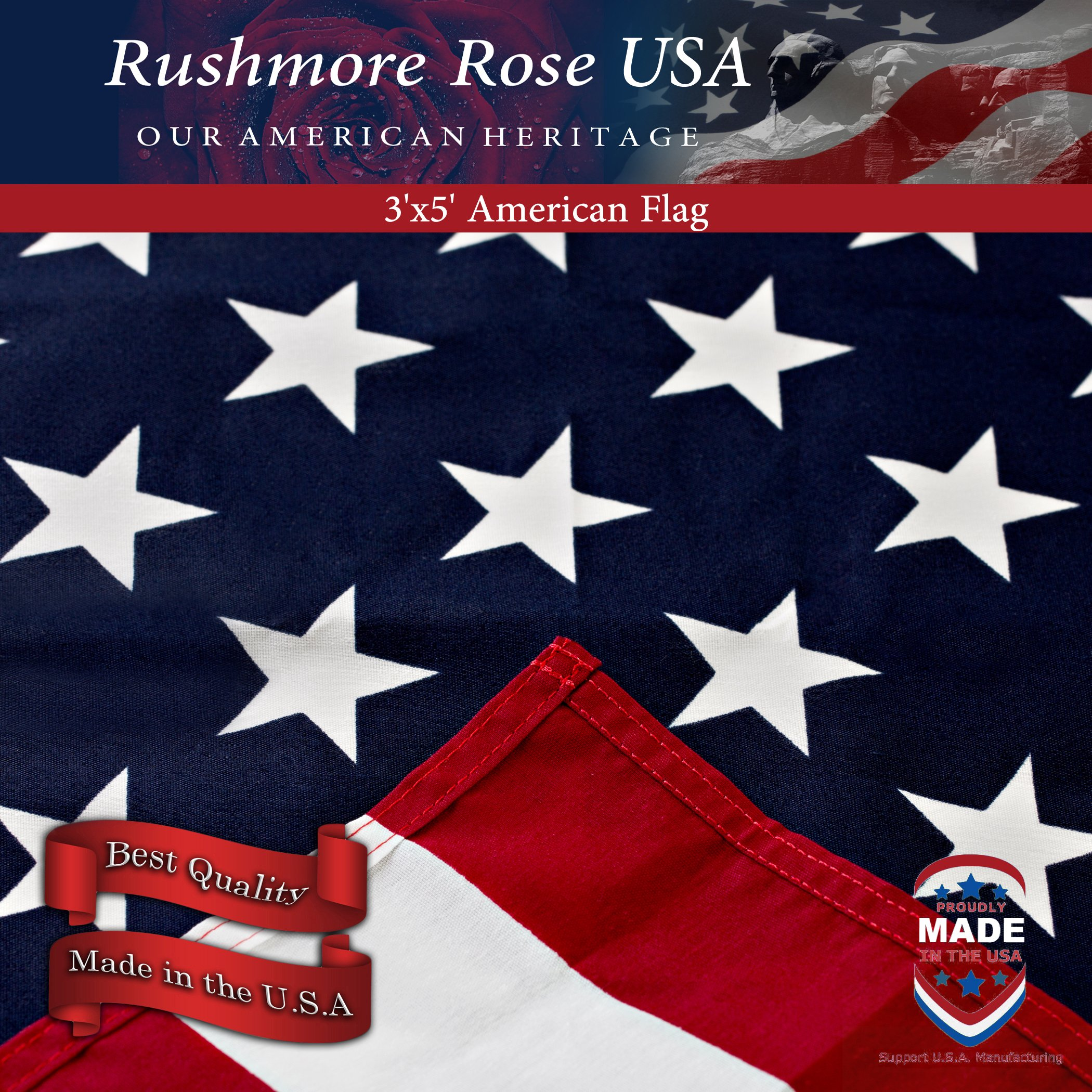 Rushmore Rose USA American Flag - US Flag 3x5 - Made in USA - Home/Garden, Indoor/Outdoor - American Made Printed Flag for True Patriots