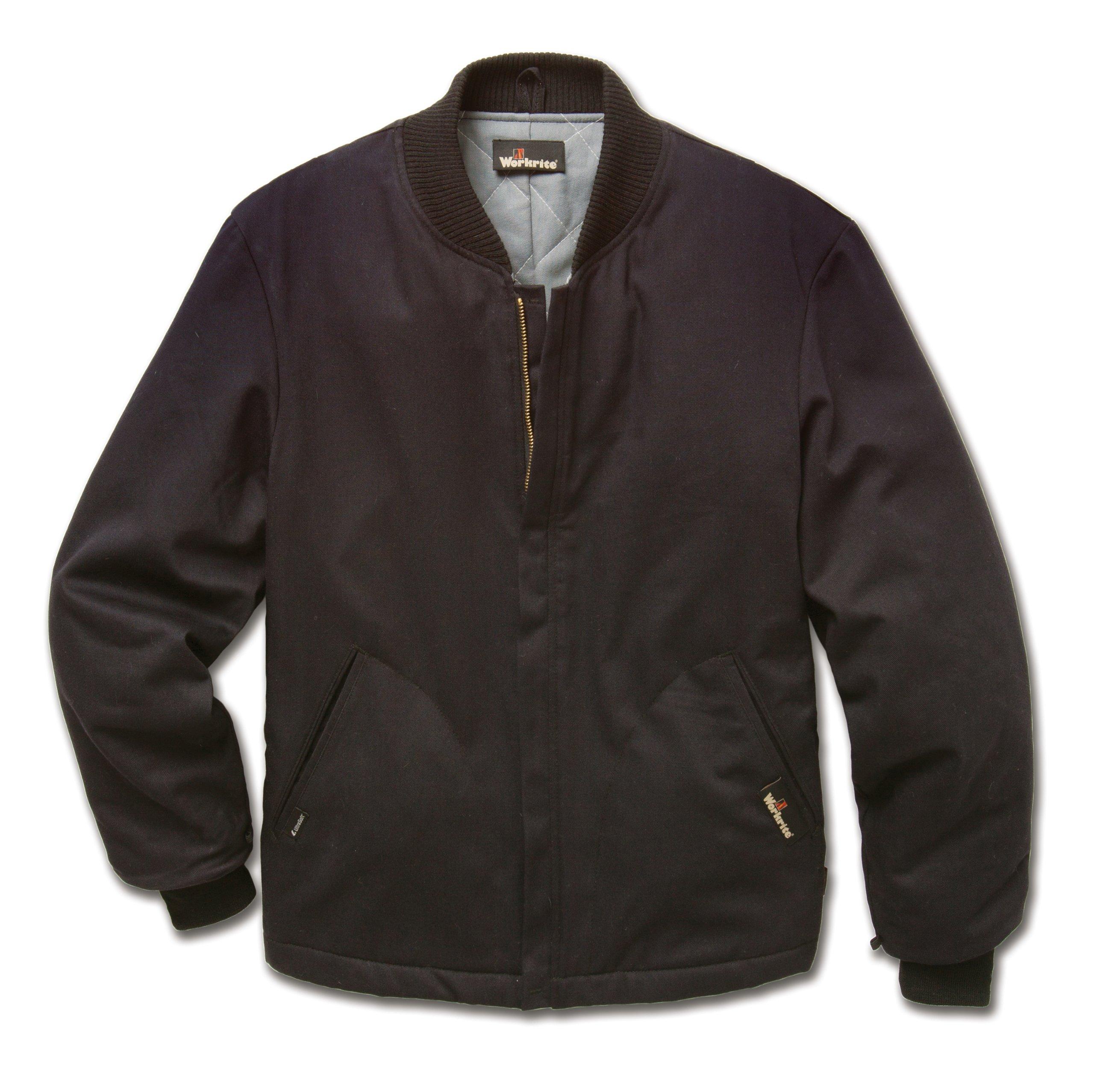 Workrite FR Flame Resistant 4.5 oz Nomex IIIA Athletic-Style Jacket/Liner, Knit Cuff, 2X-Large, Regular Length, Black