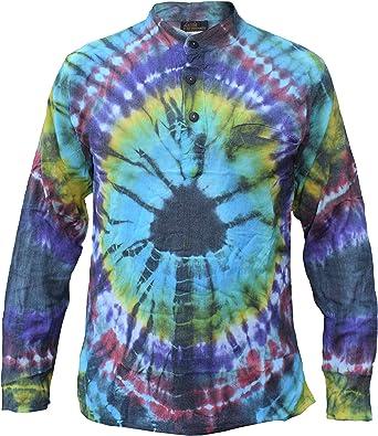 Gheri Hippie algodón Tie Dye Casual Grandad Shirt: Amazon.es ...