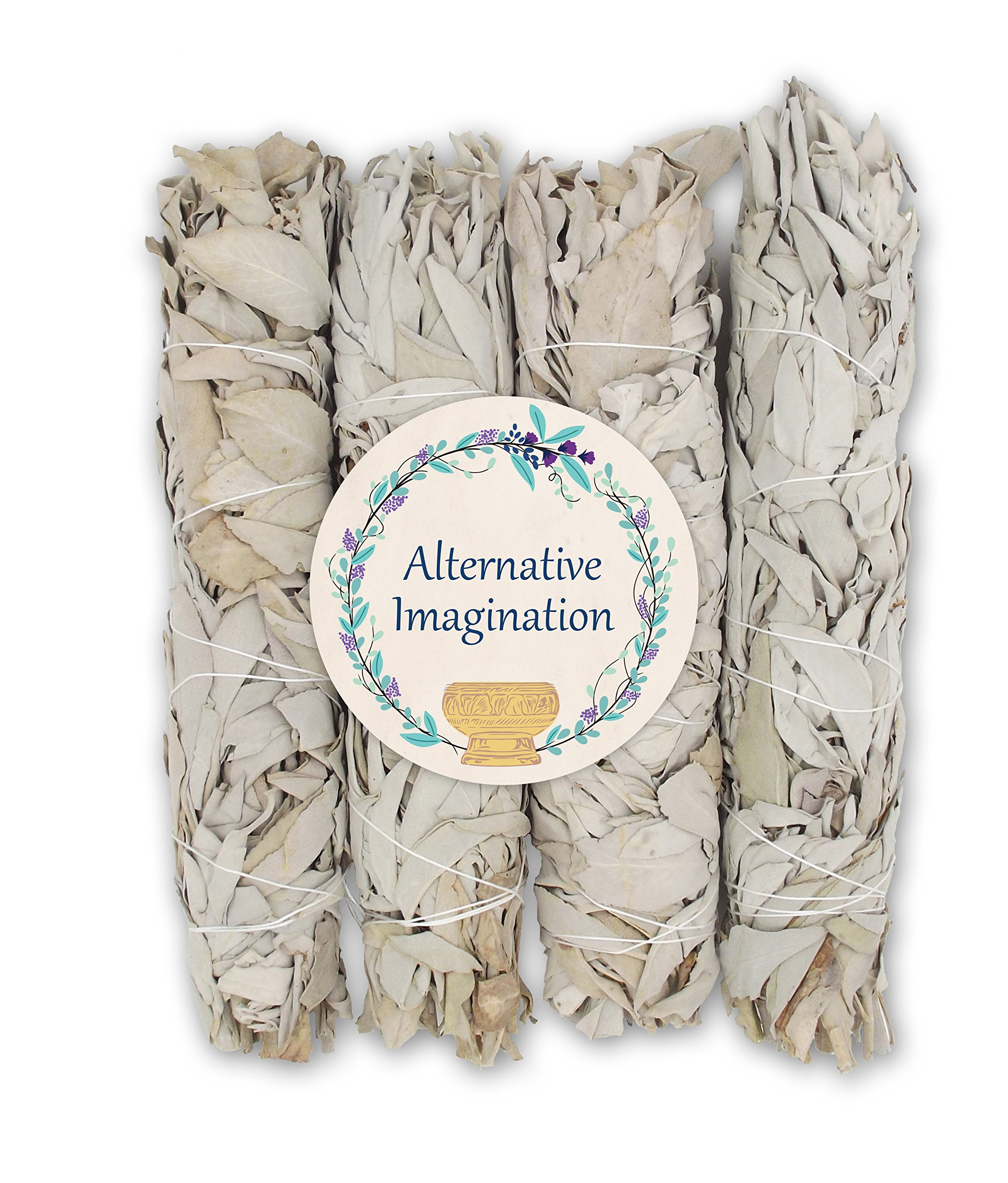 Extra Large California White Sage, Each Stick Approximately 8.5 Inches Long and 1.5 Inches Wide for Smudging Rituals, Energy Clearing, Protection, Incense, Meditation, Made in USA (4 - Extra Large)
