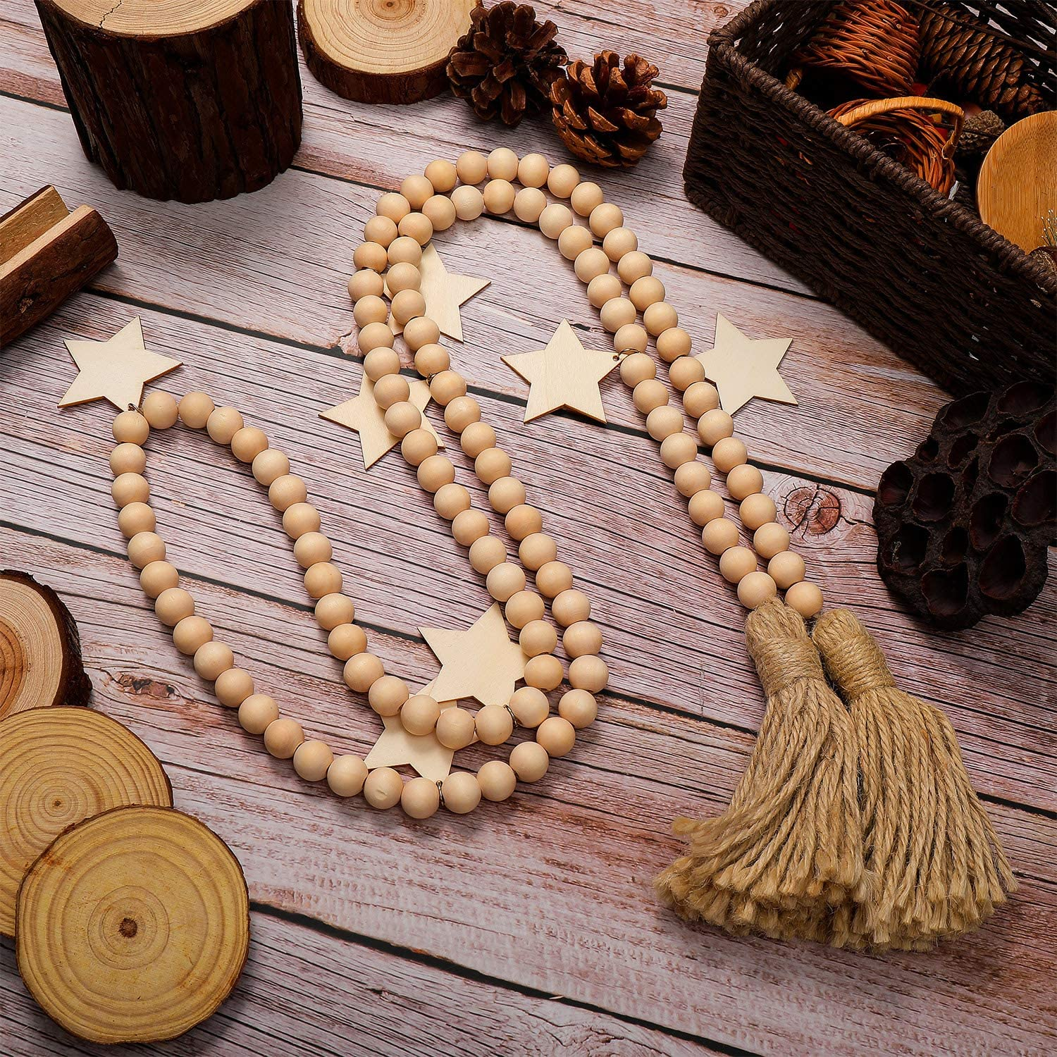 2 Pieces Wood Bead Garland Rustic Farmhouse Wooden Bead Tassel Garland with Wooden Stars for Thanksgiving Day Christmas Bohemian Nursery Home Wall Hanging Decoration