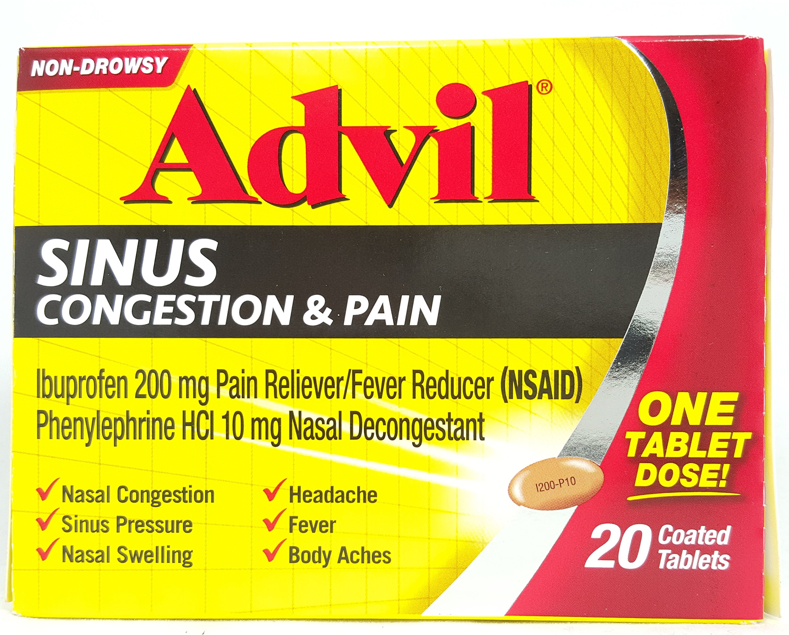 Advil Sinus Cong & Pain 2 Size 20ct Advil Sinus Congestion & Pain 20ct