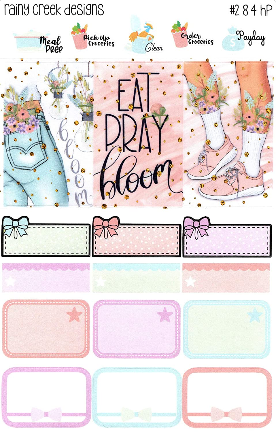 Eat Pray Bloom 2 Page Weekly Planner Sticker Kit for Happy Planner Classic Planners//Functional Stickers//Decorative Stickers// #284 HP