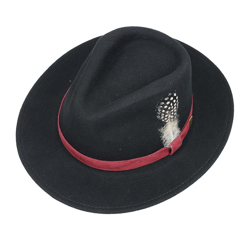 2c90cbd6741 MAZ Mens Ladies Unisex 100% Wool Felt Crushable Fedora Trilby Hat with  Feather in Black Navy Wine  Amazon.co.uk  Clothing