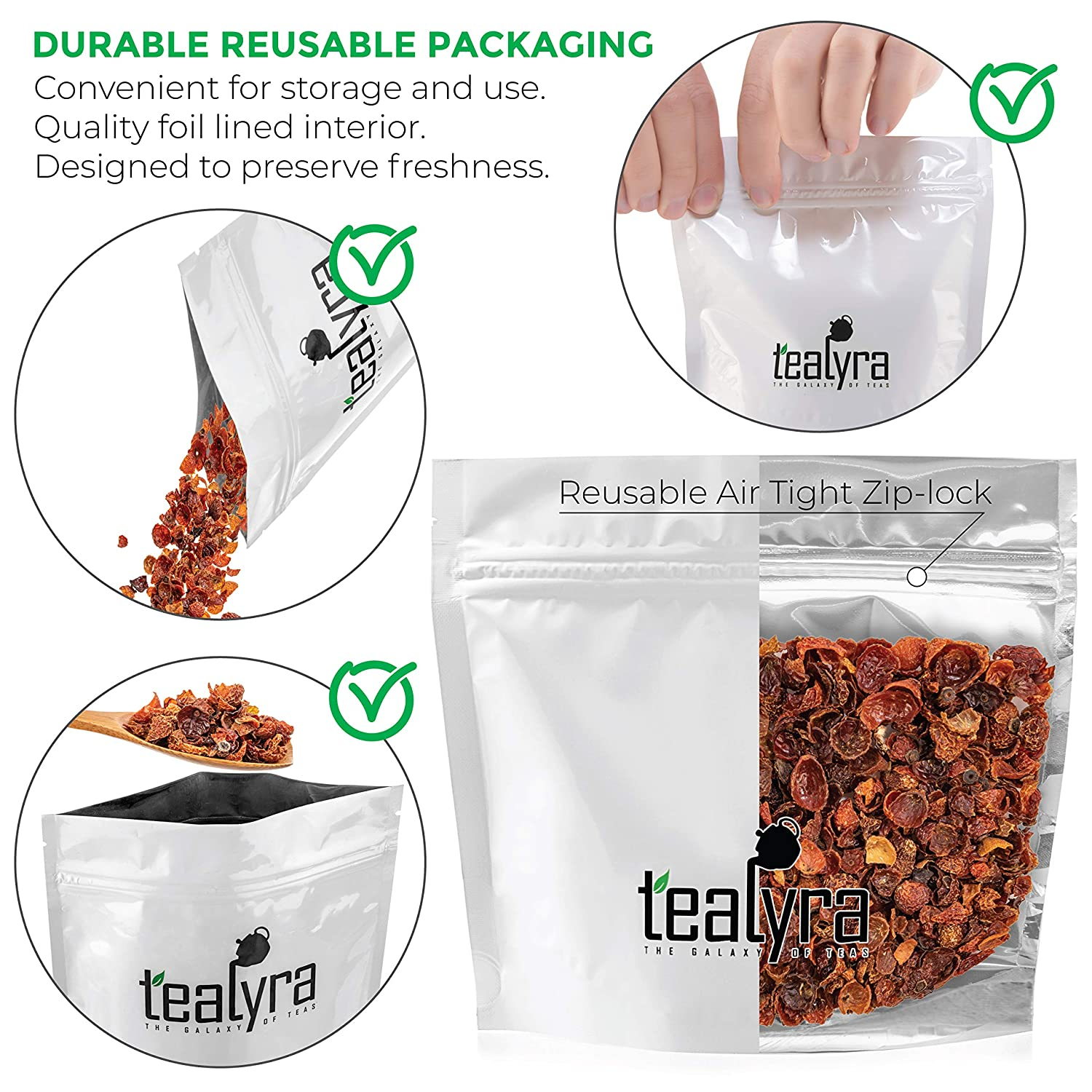 Tealyra - Pure Rosehips - Loose Leaf Tea - Healthy Drink - Vitamen Rich - Caffeine-Free - 100% Natural - Hot or Iced