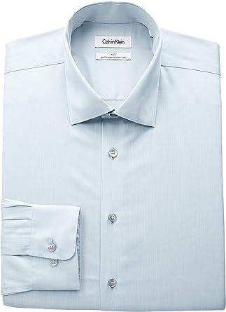 Calvin Klein Hombre 33K3180 Opaco Cuello Tipo Italiano Manga Larga Camisa de Vestir - Verde - 51 cm Cuello 94 cm- 97 cm Manga: Amazon.es: Ropa y accesorios