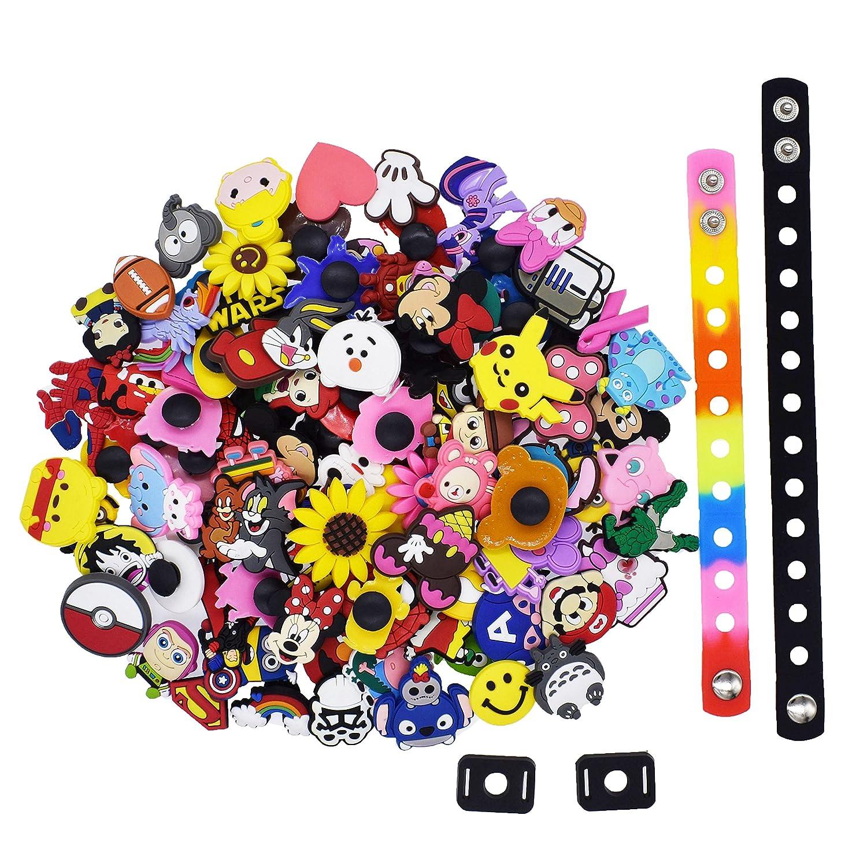 e381bfea0b82a Amazon.com: XHAOYEAHX 100Pcs Different Random Shoes Charms Decorations+2Pcs  Shoe Lace Adapter +2Pcs Wristband Bracelet: Shoes