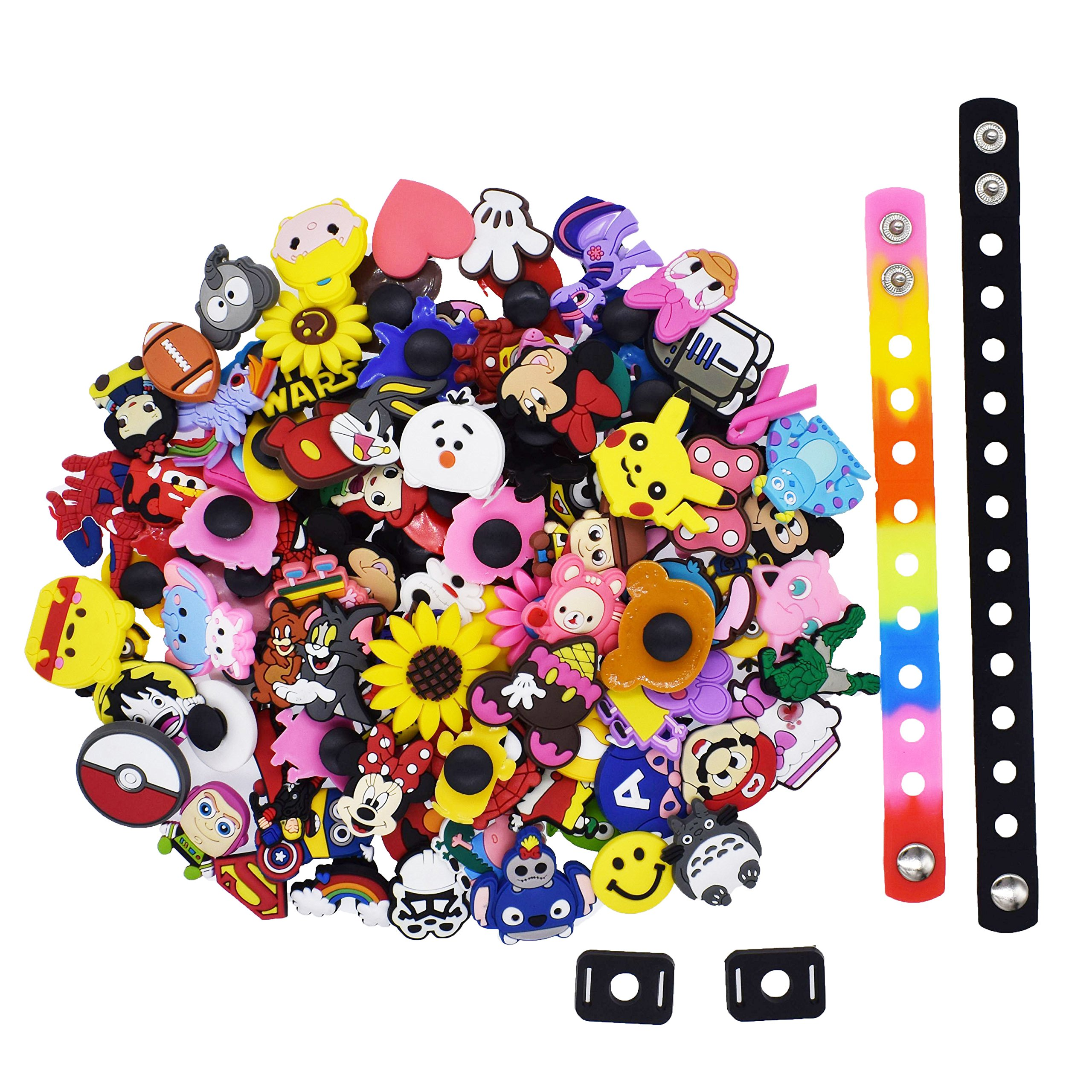 XHAOYEAHX 100Pcs Different Random Shoes Charms Decorations+2Pcs Shoe Lace Adapter +2Pcs Wristband Bracelet