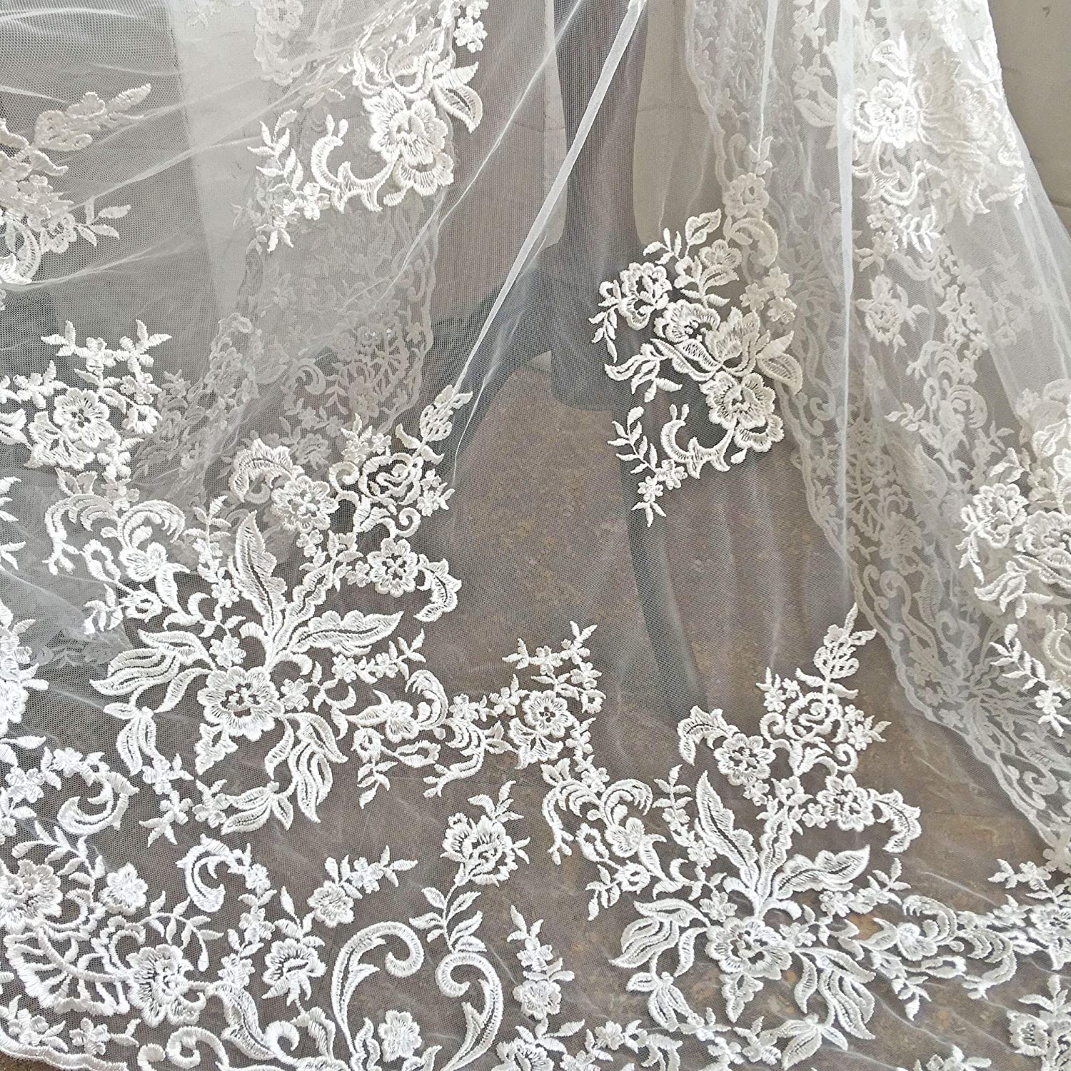 Veil lace B00207 Embroidered lace White Lace French Lace Off White lace fabric Lingerie Lace Bridal lace Wedding Lace