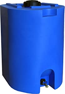 Blue 55 Gallon Water Storage Tank by WaterPrepared - Emergency Water Barrel Container with Spigot for Emergency Disaster Preparedness - Stackable, Space Saving - BPA Free