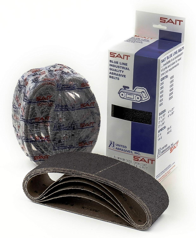 United Abrasives-SAIT 58185 Open Coat Aluminum Oxide 4-Inch x 21-Inch 80 Grit Sanding Belt, 10-Pack