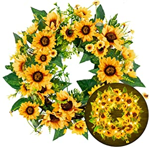 FUNPENY 18 Inch 40LED Pre-lit Sunflower Wreath with Lights, Artificial Spring Summer Wreath Decorations for Front Door, Windows, Bedroom, Living Room Kitchen, Fireplace Decor