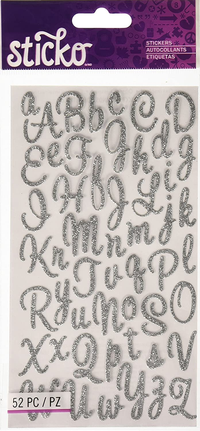 Sticko Sweetheart Silver Script Alphabet Sticker
