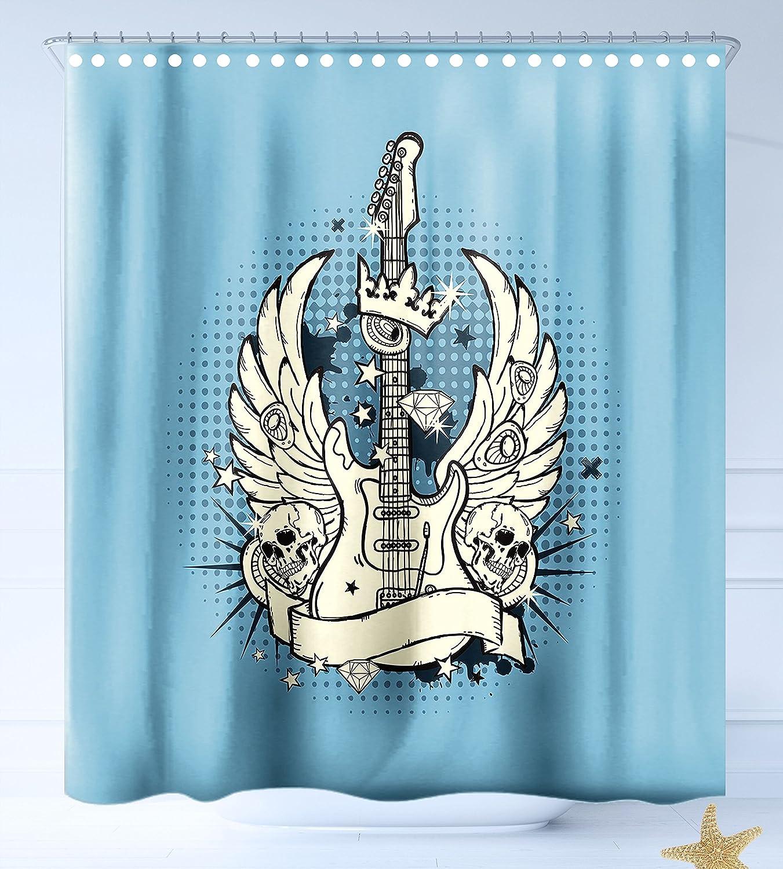 HAIXIA Cortinas de Ducha Guitarra Retro Estilo Composición Angry Calavera Americana Bandera Patrón Alas Guitarras Eléctricas Decorativa: Amazon.es: Hogar