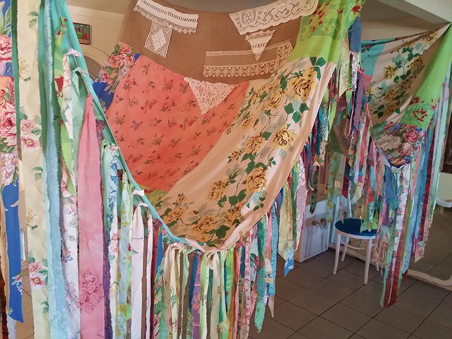 Amazon.com BOHO Tent Canopy teepee vintage textiles Gypsy hippie patchwork bed canopy Wedding curtain photo prop festival Bohemian Shabby Chic party HUGE ... & Amazon.com: BOHO Tent Canopy teepee vintage textiles Gypsy hippie ...