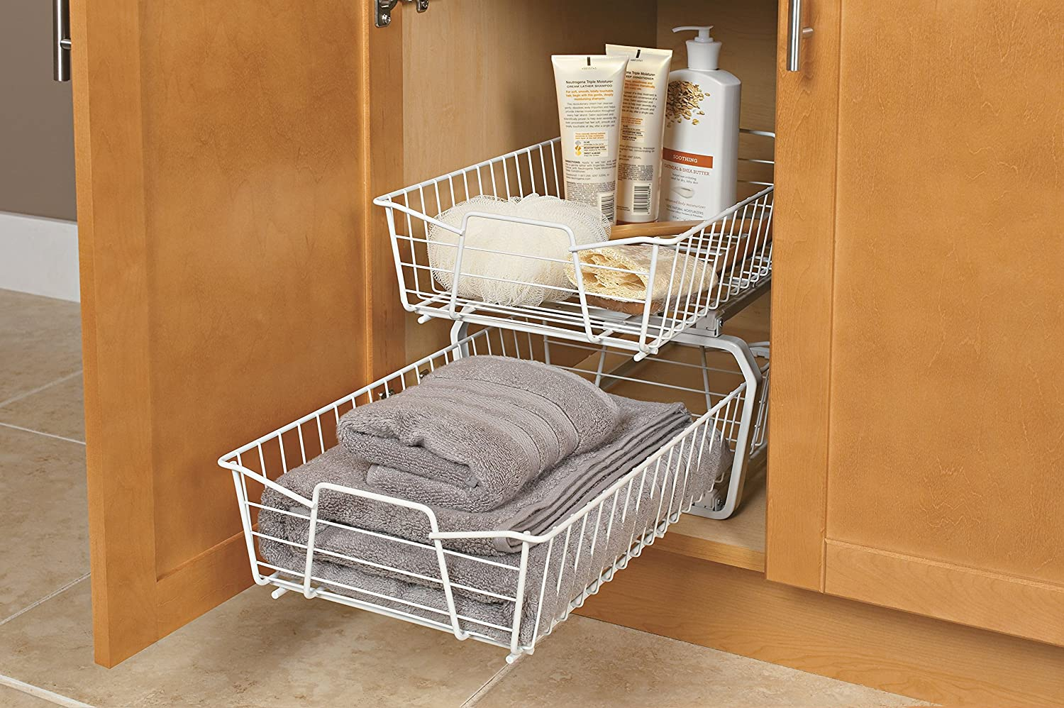 Lynk roll out under sink cabinet organizer pull out two tier sliding - Amazon Com Closetmaid 3608 2 Tier 11 Inch Kitchen Cabinet Organizer White Home Kitchen