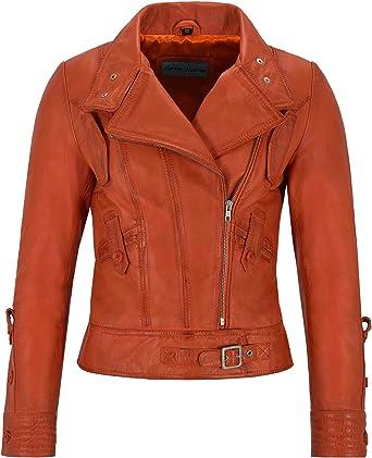 Luxury Ladies Leather Jacket Black Real Italian Nappa Leather Biker Style Design