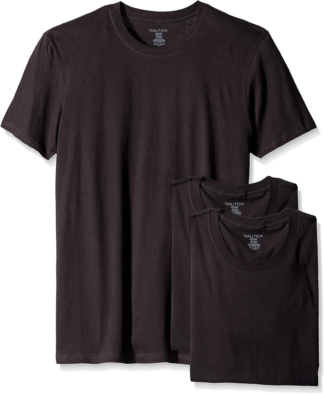 Nautica Mens Cotton Crew Neck T-Shirt Multi Packs Undershirt