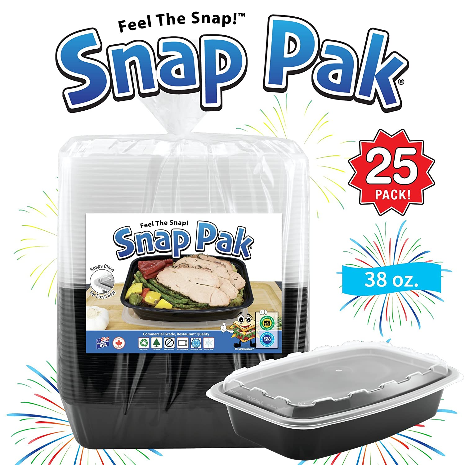 Snap Pak 12009 Storage Containers 38 oz. Clear Lid/Black Base BPA Free, Microwave, Freezer & Dishwasher Safe Air Tight Seal, Very Durable Keeps Food Fresh