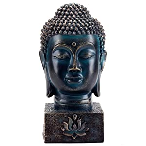 MyGift Rustic Spiritual Buddha Bust/Calming Zen Meditation Statue with Lotus Sculpted Display Base
