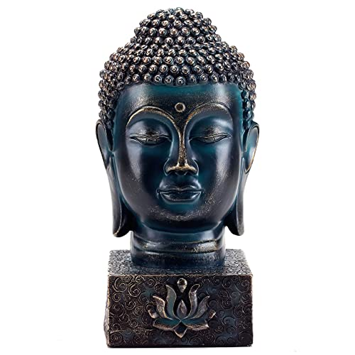 MyGift Rustic Spiritual Buddha Bust Calming Zen Meditation Statue with Lotus Sculpted Display Base