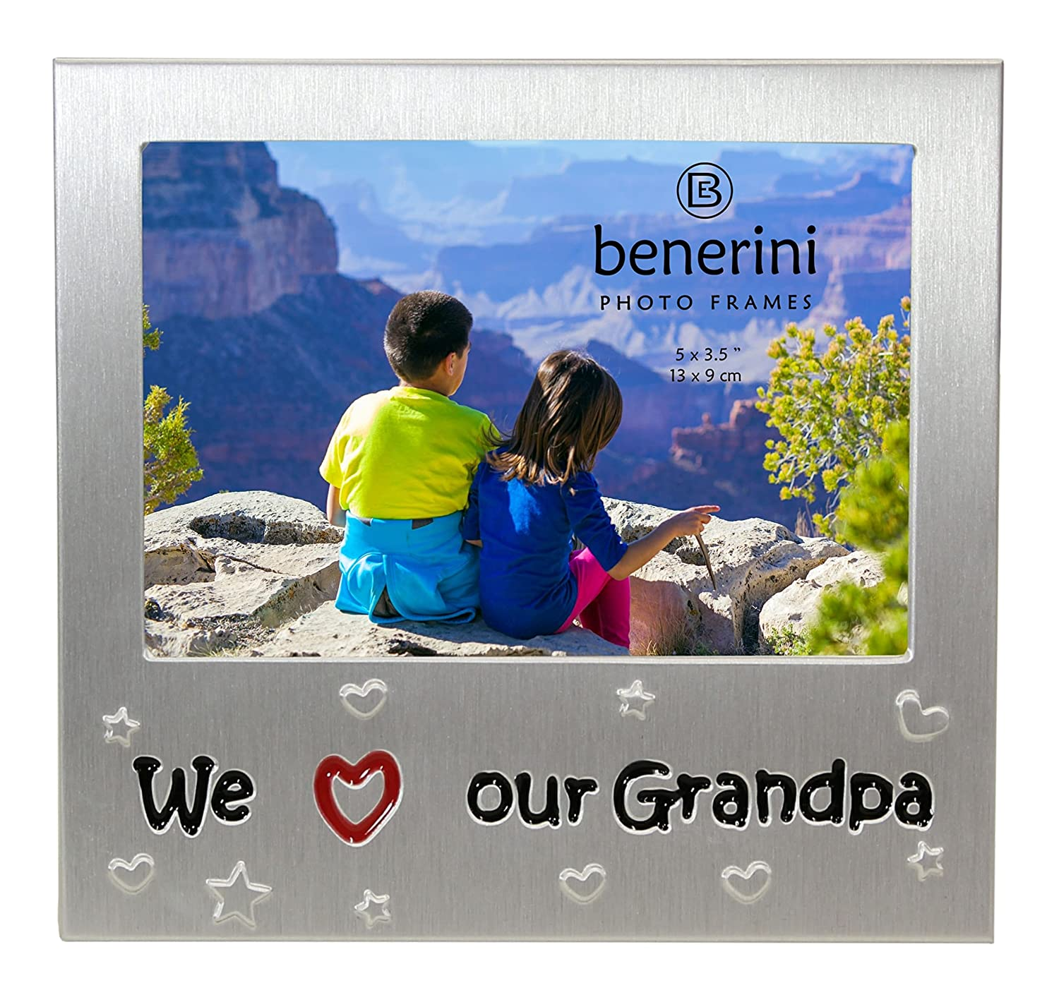 Expressions Photo Picture Frame Gift benerini We Love Our Grandpa Brushed Aluminum Satin Silver Colour Expressions Photo Frames 5 x 3.5