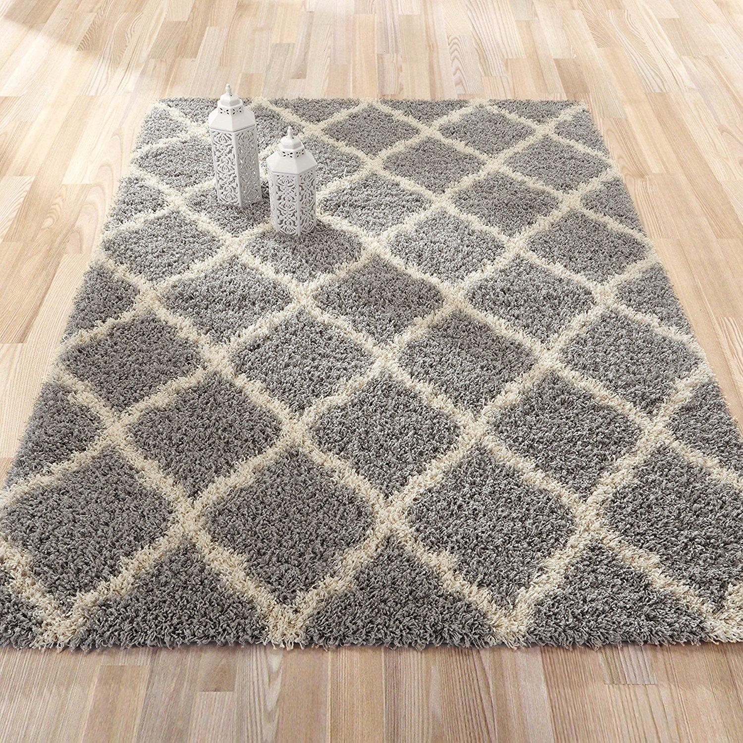 Sweet Home Stores Cozy Shag Collection Moroccan Trellis Design Shag Rug Contemporary Living & Bedroom Soft Shaggy Area Rug,   Grey & Cream,  94'' L x 118'' W by Sweet Home Stores (Image #3)