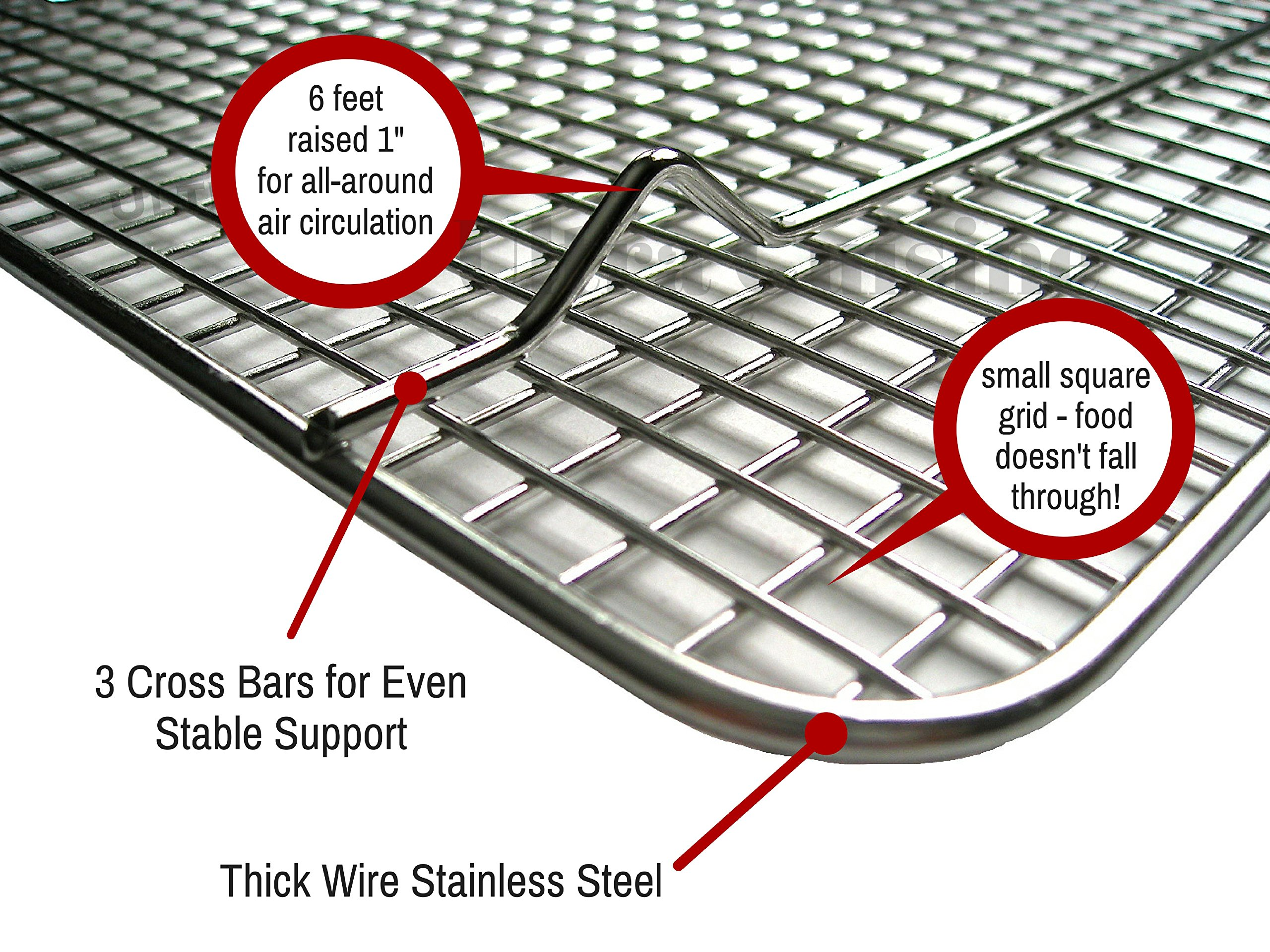 Ultra Cuisine 100% Stainless Steel Wire Cooling Rack for Baking fits Half Sheet Pans  Cool Cookies, Cakes, Breads - Oven Safe for Cooking, Roasting, Grilling - Heavy Duty Commercial Quality by Ultra Cuisine (Image #6)