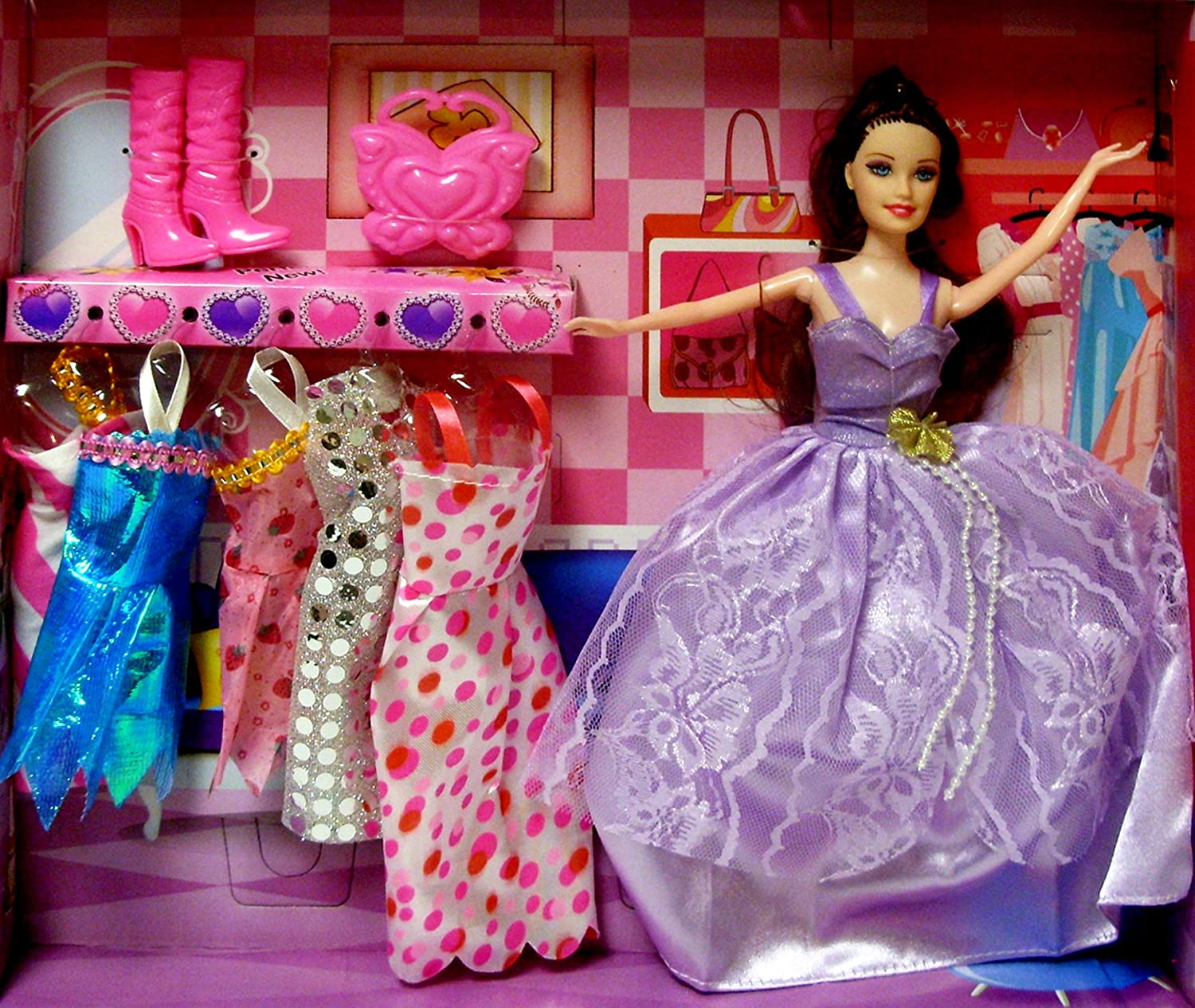 Fashion Doll for Children with Dresses & Gowns, Boots & Pocketbook Accessories~Great Gift for a Fashionable Little Girl!