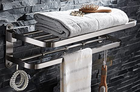 ELLOu0026ALLO Stainless Steel Towel Racks For Bathroom Shelf Double Towel Bar  Holder With Hooks Wall Mounted
