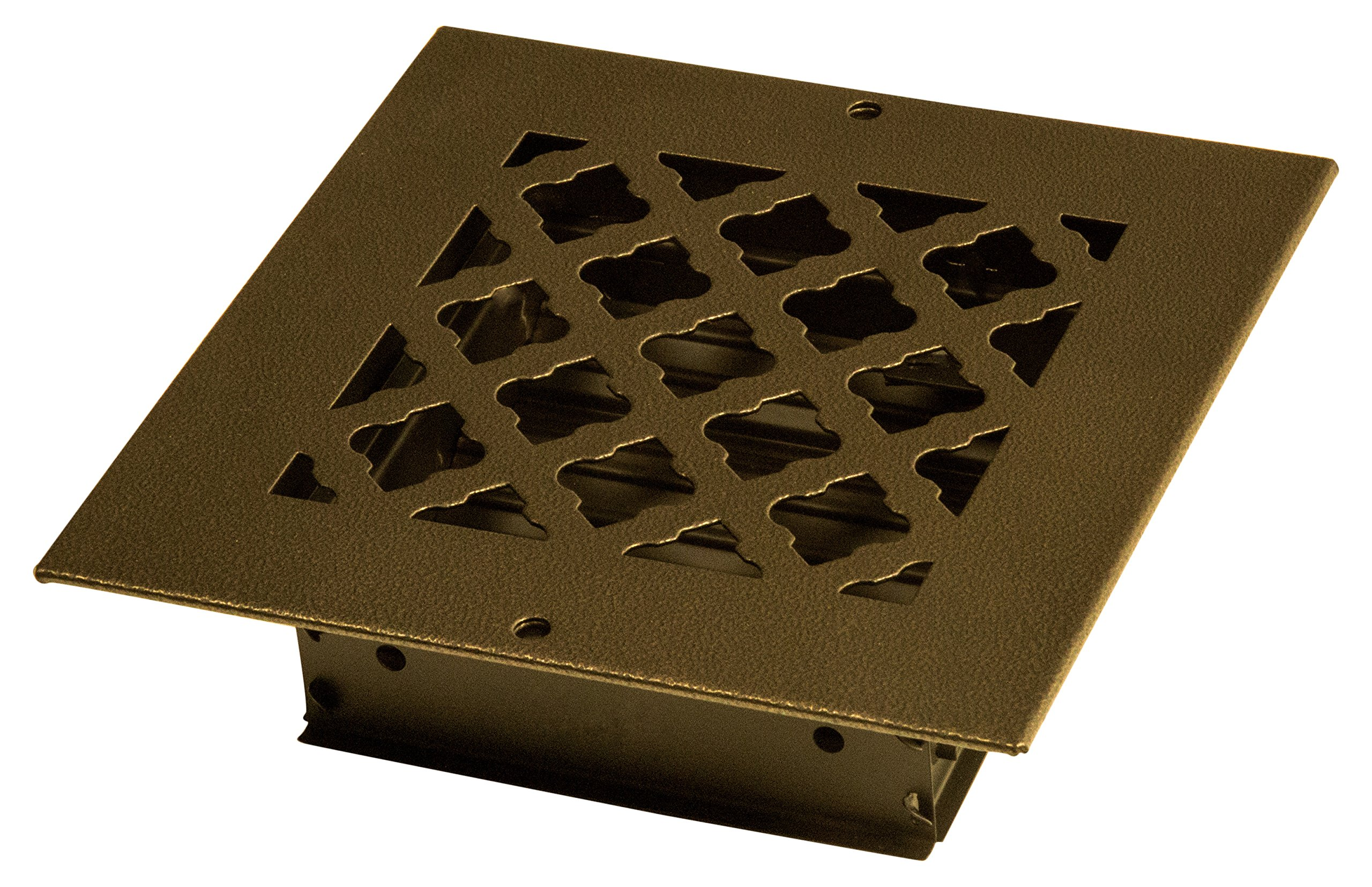 SteelCrest BTU6X6SORBH Bronze Series Designer Wall/Ceiling Vent Cover, with Air-Volume Damper, and Mounting Screws, Oil Rubbed Bronze