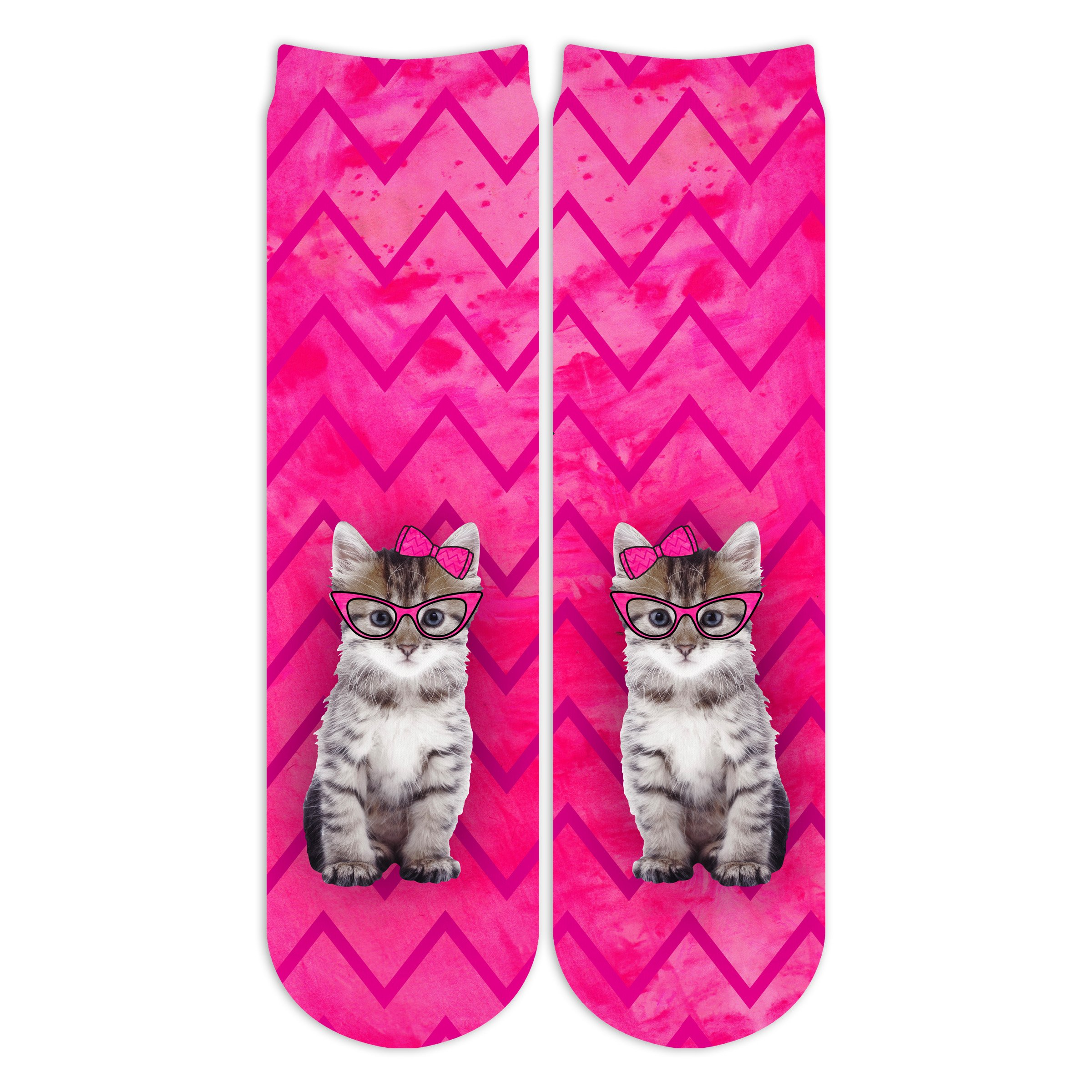 Sublime Designs Socks Fun Print (Crew Cat with Bow and Glasses)