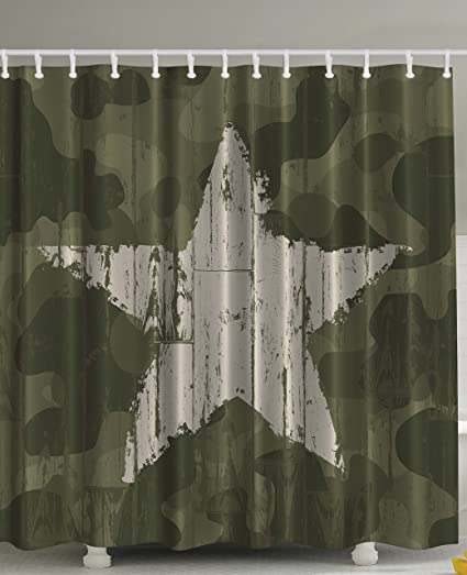 Exceptionnel Ambesonne Western Khaki Camouflage Shower Curtain By, Southwestern Military  Print Patriotic Star Khaki Cream Digital