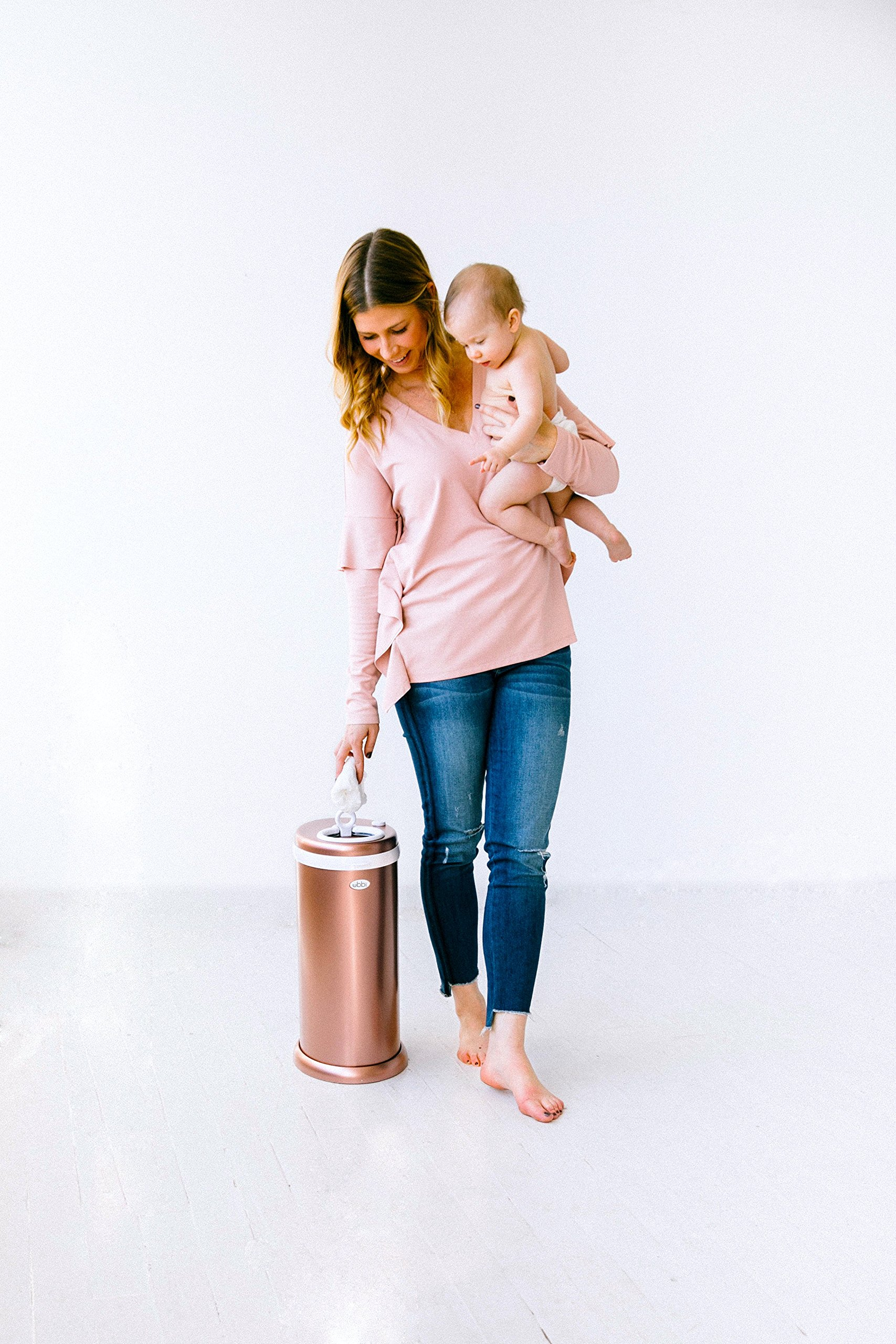 Ubbi Limited Edition, Money Saving, No Special Bag Required, Steel Odor Locking Diaper Pail, Rose Gold by Ubbi (Image #6)