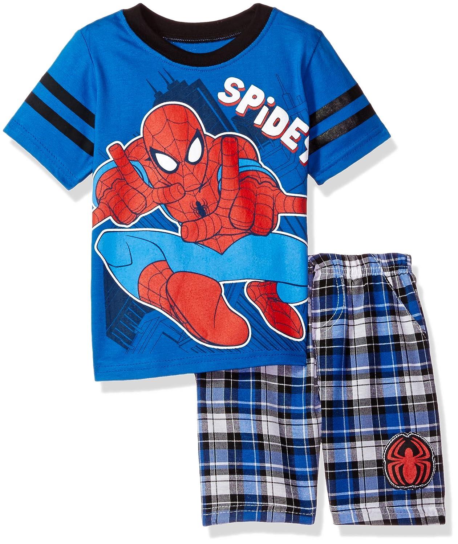 Marvel Boys' 2 Piece Spiderman T Shirt and Plaid Short Set