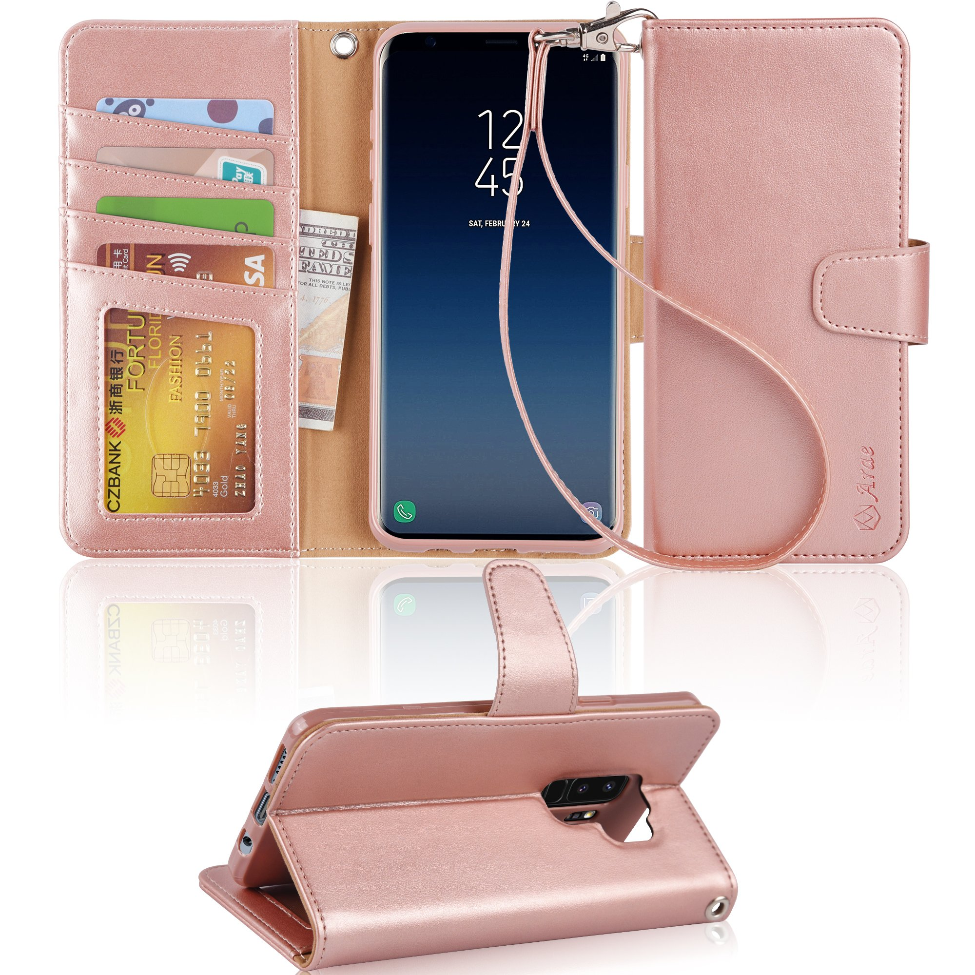 Galaxy S9 Plus Case, Arae [Kickstand Feature] PU Leather Wallet case with [4-Slots] ID&Credit Cards Pocket for Samsung Galaxy S9 Plus - Rosegold