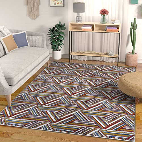 Essence Multi Red Blue Yellow Modern Geometric High-Low Pile Area Rug 3×5 3 11 x 5 3 Abstract Triangle Boxes Carpet