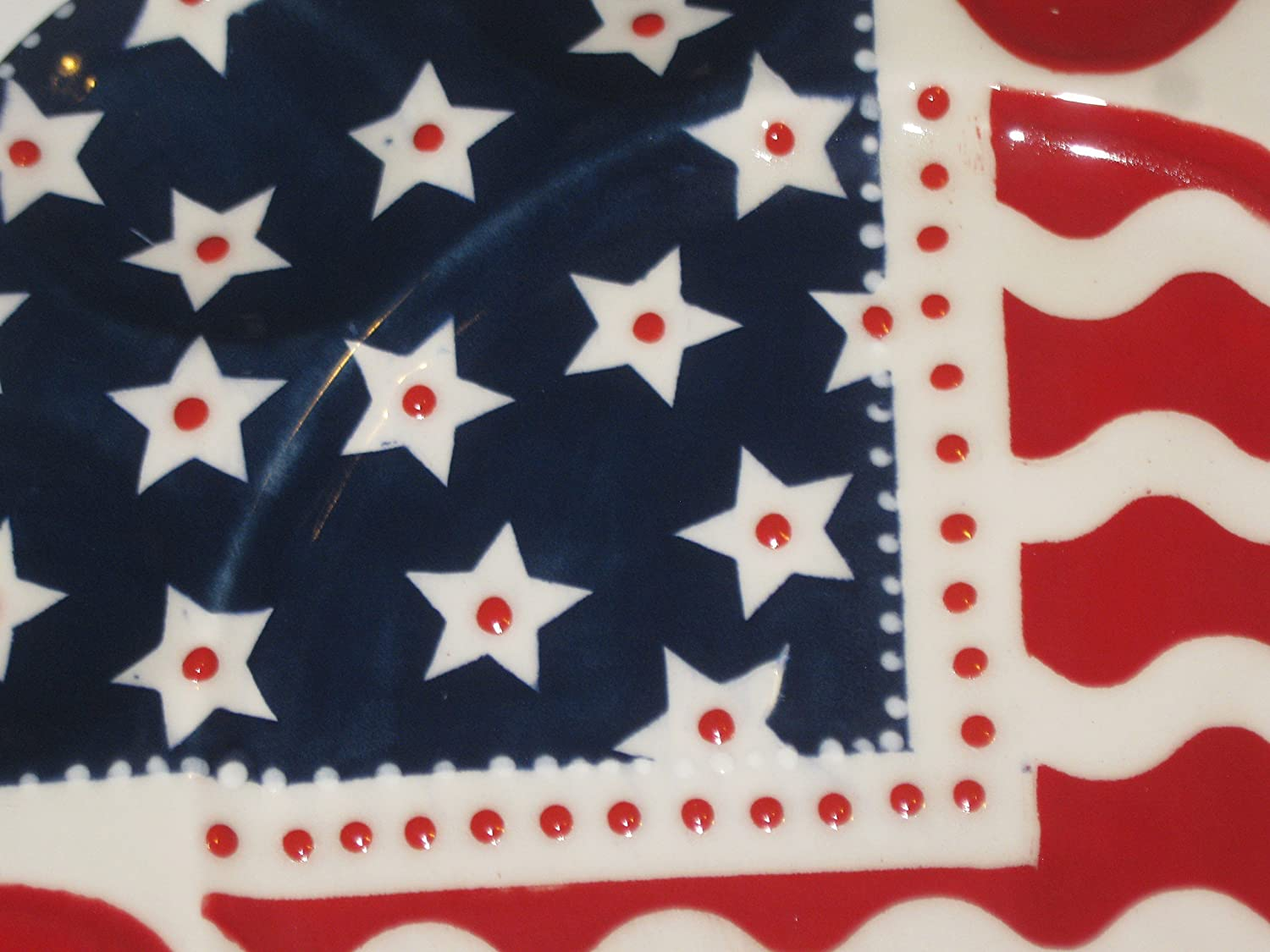 USA hand painted 4th of July deviled egg platter